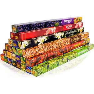 Premium Räucherstäbchen Mix, 25 unterschiedliche Packungen von fruchtig bis klassisch